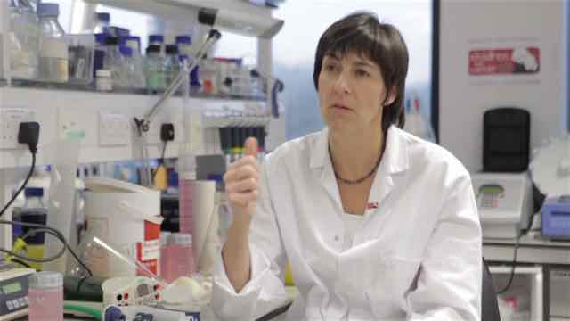 Prof Tessa Holyoake in lab