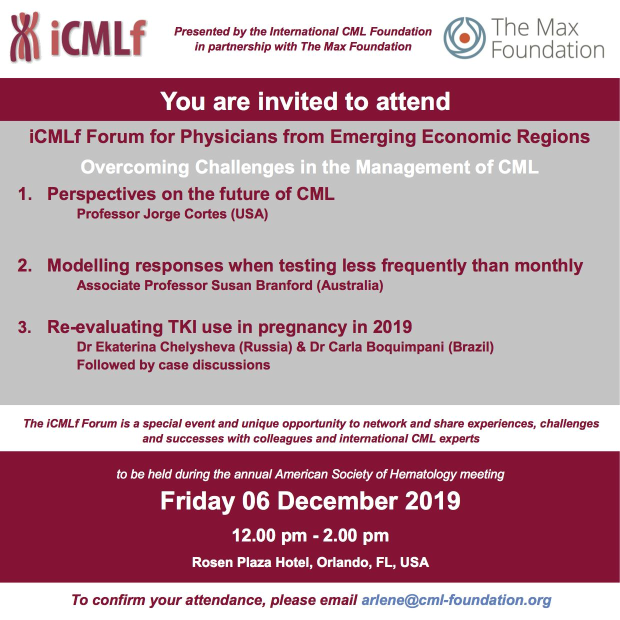Your invitation to the iCMLf Forum at ASH