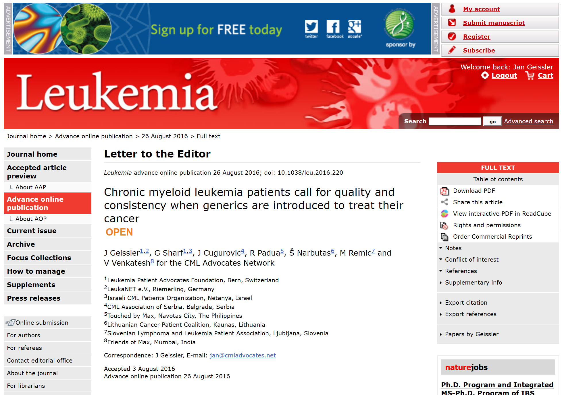 2016-08-26 16 21 01-Leukemia - Chronic myeloid leukemia patients call for quality and consistency wh